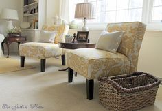 On Sutton Place Slipper Chairs from Target Some really beautiful ideas here - great vignettes