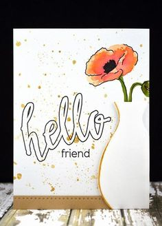 Watercolor Poppies, Watercolor Cards, Flower Stamp, Flower Cards, Poppy Cards, Altenew Cards, Hand Made Greeting Cards, Paint Cards, Friendship Cards
