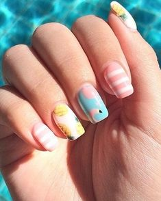 pineapple Pineapple and flamingo nails Pineapple and flamingo nails Pineapple Nail Design, Pineapple Nails, Drip Nails, Gel Nails, Cute Nails, Pretty Nails, Sky Blue Nails, Nails For Kids, Beach Nails