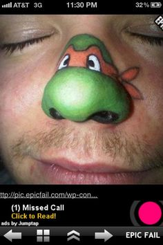 Teenage Mutant Ninja Turtle face paint design nose art