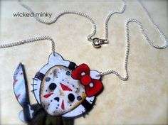 tattoo style inspired necklace Jason Voorhees kitty by wickedminky