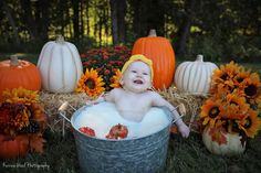 Fall baby bliss Autumn baby milk bath to celebrate her first birthday. Fall baby bliss Autumn baby milk bath to celebrate her first birthday. Milk Bath Photos, Bath Pictures, Fall Baby Pictures, Fall Pics, Baby Milk Bath, 7 Month Old Baby, Milk Bath Photography, Kid Photography, Fall Mini Sessions