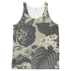 #country - #Rustic Green Vintage Botanical Floral Toile No.1 All-Over-Print Tank Top