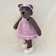 PDF Crochet Pattern - 10 inch Bear and  Outfits 1 - dress, hat and shoes. $5.00, via Etsy.