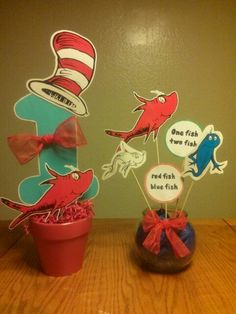 Dr. Seuss birthday centerpieces.... Aliyahs 1st birthday