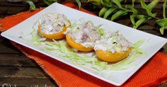 melocotones rellenos, melocotones en almíbar, atún, melocotones en almíbar rellenos de atún, Julia y sus recetas