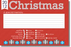 Free Christmas Memory Card Printable - 2012 from Tiny Tales