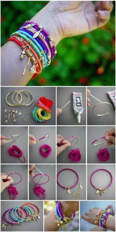 Charm Jewelry, Jewelry Bracelets, Diy Jewelry, Bangles, Charmed, Knitting, Fashion, Jewellery, Charm Bracelets