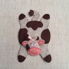 Cow Shaped Felt Coaster,Embroidered Coaster,Handmade Coaster,Beige Brown Pink…