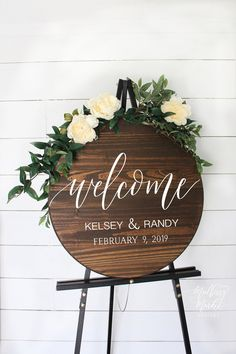 Wooden Wedding Welcome Sign - This as a whiskey barrel topper!😍 -Round Wooden Wedding Welcome Sign - This as a whiskey barrel topper!😍 - acrylic and vellum paper floral wreath wedding invitations Round Wedding Welcome Sign Wooden Welcome Signs, Wedding Welcome Signs, Wood Signs, Rustic Signs, Wedding In The Woods, On Your Wedding Day, Dream Wedding, Woods Wedding Ideas, Taupe Wedding