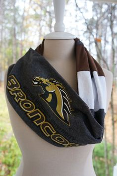 Recycled t-shirt Western Michigan University infinity scarf - for sale on Etsy by Tenthreads.