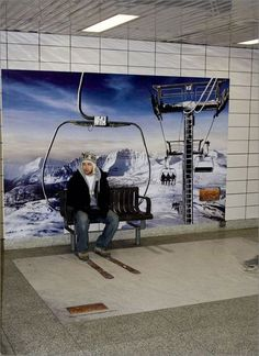 Picture yourself ... skiing. Guerrilla marketing has become all the rage these days but it is nothing new – it is simply a twist on delivering a message, communicating a concept and selling something in a way that engages an audience. This ad is a great way to sell without annoying people. #guerilla #marketing #RockCandyMedia