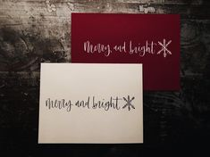 there's no better way to share love and joy during the holidays than sending christmas cards. with these minimalist and personalized christmas cards, you will be able to spread the love to your family and friends. Send Christmas Cards, Personalised Christmas Cards, Holiday Cards, Minimalist Christmas, White Ink, Merry And Bright, Happy Holidays, Hand Lettering, Cards Against Humanity