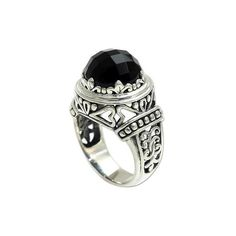 NOVICA Onyx and Silver Cocktail Ring from Bali (215 BRL) ❤ liked on Polyvore featuring jewelry, rings, onyx, single stone, onyx heart ring, vine ring, silver onyx ring, silver swirl ring and statement rings