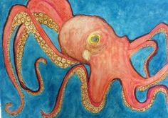 My first octopus! Watercolor.