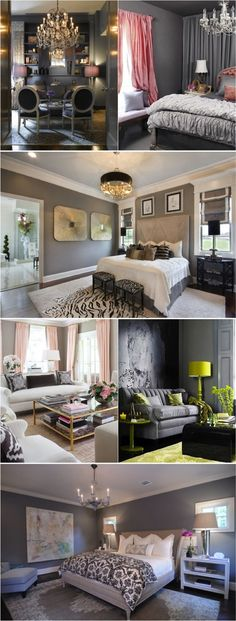 grey paint. with any color. love the whole look! Definitely going use this as tips for my house!