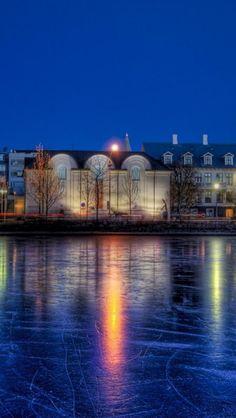 Night, Freeze, Reykjavik, Republic of Iceland, City. Love the reflection on the ice