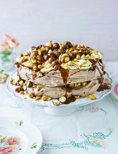 Very chocolatey salted caramel and hazelnut pavlova. An incredible showstopper to have for pudding at Easter.