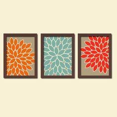 FALL Beige Orange Blue Red Cream Earth Tones Flower Burst Dahlia Bloom Artwork Set of 3 Trio Prints WALL Decor Abstract ART Bedroom Bathroom...
