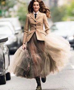 Josephine le Tutour wears a Dior Resort 2019 look designed by Maria Grazia Chiuri for the latest December issue of Elle Italia. Look Fashion, Skirt Fashion, High Fashion, Fashion Dresses, Womens Fashion, Fashion Tips, Fashion Design, Fall Fashion, Lolita Fashion