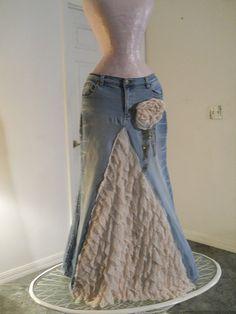 Belle Époque jean skirt creamy ruffled silk ultra femme beige lacy bohemian beach goddess mermaid Renaissance Denim Couture Made to Order