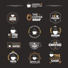 Vector coffee cup icons business cards pinterest coffee cup coleccin de etiquetas de caf reheart