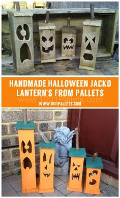 Wood Pallets These handmade Halloween Jacko lantern's made from repurposed pallet wood range in height from down to A family of 4 is really popular! :) - Handmade from recycled pallet wood . Ideal with glow sticks or dry ice Recycled Pallets, 1001 Pallets, Wood Pallets, Pallet Wood, Pallet Benches, Pallet Tables, Pallet Bar, Outdoor Pallet, Pallet Shelves