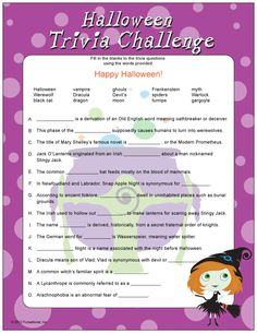 printable halloween trivia fiendishly fun and not too difficult speed is the most difficult obstacle in this halloween trivia game suggested age adults