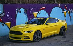 Download wallpapers Ford Mustang, 2017, yellow sports coupe, American sports car, tuning Mustang, 305FORGED, black Wheels, Ford