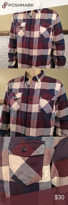 """Vans Box Plaid Flannel Long Sleeve Button Up Shirt NWT Vans Off the Wall Box Plaid Flannel Long Sleeve Button Up Shirt in shades of navy, burgundy and white. The Box Flannel shirt from Vans is a yarn dye long sleeve box plaid flannel with double chest pockets featuring the Vans flag label. Approximate measurements from armpit to armpit: 23""""; length: 30""""; shoulder between seams: 18.5""""; sleeve: 27"""". 100% cotton. Smoke free home. Vans Shirts Casual Button Down Shirts"""