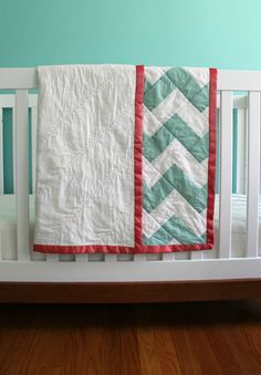 lovely green chevron baby blanket.     mint green chevron zig zag blanket with coral binding : one of a kind. $220.00, via Etsy.