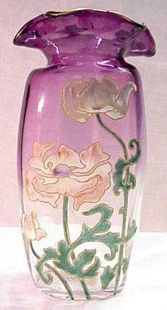 Mont Joye Amethyst Vase with Enamel Poppies