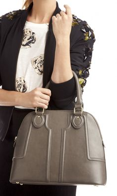 Polished vegan leather structured satchel with a retro-inspired shape, top handles, gold-toned hardware and top zipper closure