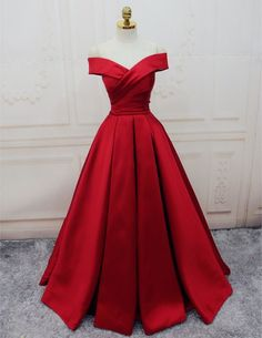 Prom Dresses For Teens, Gorgeous Satin Red Off Shoulder Prom Gowns Lace up, Long Red Gowns, Formal Gowns Dresses Modest A Line Prom Dresses, Lace Evening Dresses, Long Dresses, Long Gowns, Prom Dresses Dark Red, Red Satin Prom Dress, Bridesmaid Dresses, Wedding Dresses, Off Shoulder Gown Evening Dresses