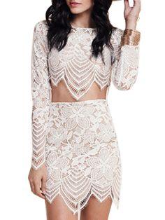 White, Lace, Asymmetric Hem, Crop Top, Mini Skirt