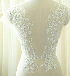 Silver Corded Lace Motif Lace Applique Bridal lace Applique