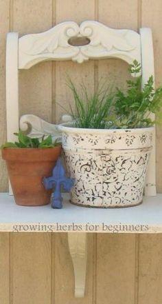 Great idea for a plant shelf. Take one broken chair ♥ by maryann.davis.355