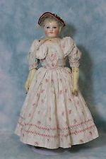 """16"""" Antique Blampoix China Head Skin Wig French Fashion Doll c1860 Nicely dress!"""