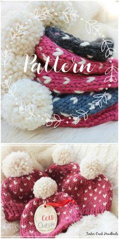 Beautiful Classic Knitting Pattern With A Simple Fair Isle Pattern , schönes klassisches strickmuster mit einem einfachen angemessenen insel-muster , beau modèle de tricot classique avec un motif simple fair isle Fair Isle Knitting Patterns, Chunky Knitting Patterns, Fair Isle Pattern, Free Knitting, Hat Patterns, Knitting Ideas, Sock Knitting, Knitting Tutorials, Vintage Knitting