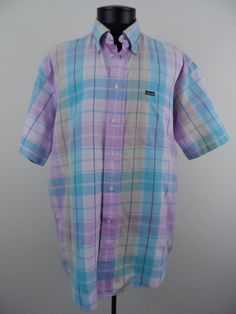 Faconnable Mens Short Sleeve Shirt Button Down Size Large Colorful Plaid Cotton #Shopping #Style #Fashion http://r.ebay.com/jP0AOM via @eBay
