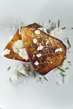 roasted pears with crumbled bleu cheese.