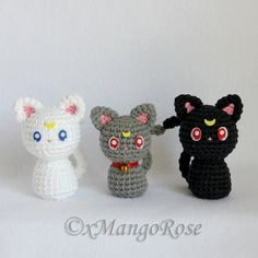 Sailor Moon Cats, Luna, Artemis, Diana Plush Amigurumi Doll (Crochet Pattern Only, Digital Download), Senshi, Usagi Tsukino, Anime Gift