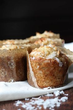 Banana Coconut Crunch Muffins Delicious! Made them today, swapped in some healthier ingredients like organic whole wheat pastry flour, almond milk, coconut sugar and pecans. Yummy!!!!