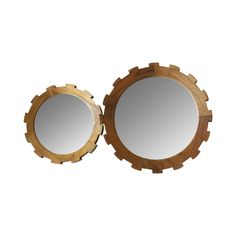 This charming mirror set will make a delightful designated touchup or morning grooming spot, or a gorgeous decorative wall addition. Fashioned in the shape of interlocking gears, this Wheels Are Turnin...  Find the Wheels Are Turning Mirror - Set of 2, as seen in the Beautifully Deconstructed Collection at http://dotandbo.com/collections/beautifully-deconstructed?utm_source=pinterest&utm_medium=organic&db_sku=111960