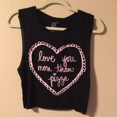 I love you more than pizza What more can I say this tank top is so cute! New with tag in great condition. So soft & comfortable to wear made of 96% rayon, 4% spandex. Writing is light pink but 2nd pic came out white due to lighting. Label says medium but can fit small if you like that loose tank top kinda look. No trading & no pp. PRICE IS FIRM SALE PRICE Iris & Navy Tops