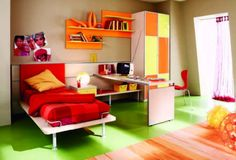 Simple Fruity Flavored Boys Bedroom In Red, Orange And Green