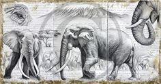 >oo MARCELLO PETTINEO oo< 303 - Satao à l'ombre de l'acacia Эскиз Слона, Рисунки Слона, Рисунки Птиц, Рисунки Животных, Tatoo, Рисунки, Художественные Скульптуры, Картины, Эскизы Животных
