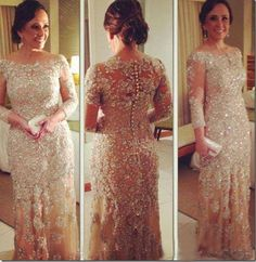 $198.87--2014 Vestidos de Fiesta Evening Dresses Vintage Long Sleeve Beaded Champagne Lace Plus Size Prom Pageant Gowns Covered Button Back