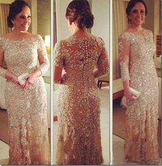 2014 Vestidos de Fiesta Evening Dresses Vintage Long Sleeve Beaded Champagne Lace. (Plus Sizes too.)  dhgate.com