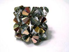 Crystal Beaded Ring Bella  Glam  beaded crystal ring by TeruAmaro, $38.00